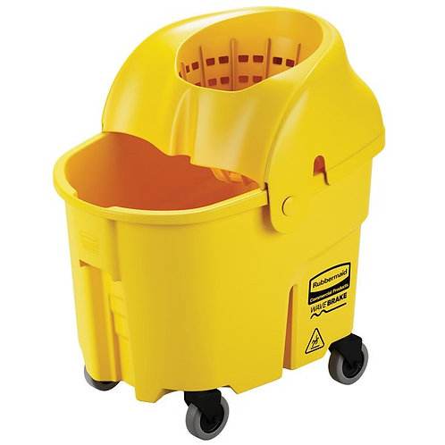 Rubbermaid WaveBrake� 35 Qt. Yellow Institutional Mop Bucket,Sieve Wringer