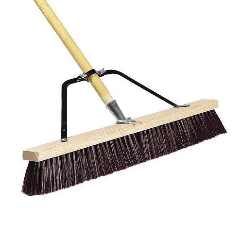 """Carlisle 24"""" Hardwood Push Broom,Maroon Poly Bristles, Brace, & Hardwood Handle"""