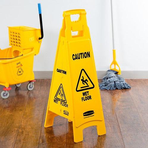 "Rubbermaid 37"" Yellow 4-Sided Wet Floor Sign - ""Caution Wet Floor"""