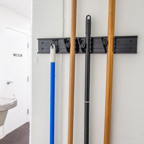 "Carlisle 18"" Roll 'N Grip Adjustable Brush, Broom & Mop Closet Rack / Hanger"