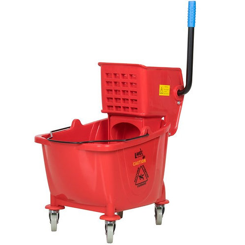Lavex Janitorial 35 Qt. Red Mop Bucket & Side Press Wringer Combo