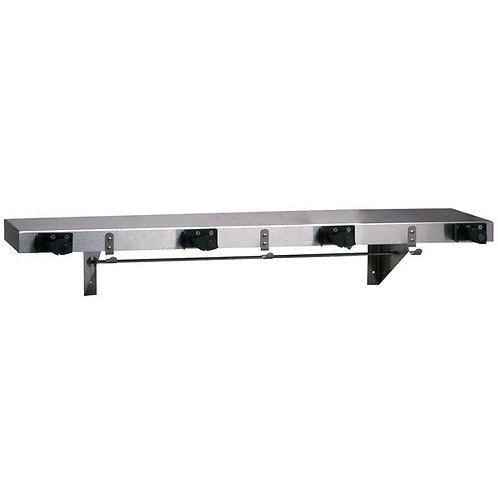 """Bobrick Stainless Steel Shelf w/ 4 Broom Holders & Rag Hooks - 36"""" x 8"""""""