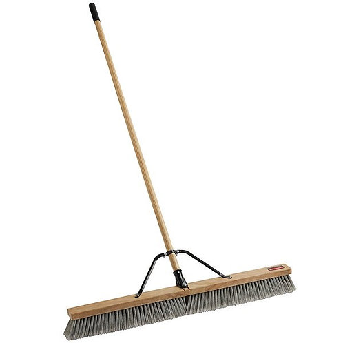 "Rubbermaid 36"" Hardwood Push Broom,PET/Poly Bristle Blend & Hardwood Handle"