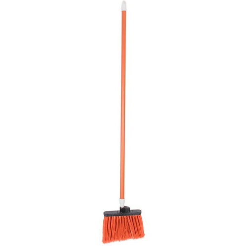 "Carlisle Sparta Spectrum Duo-Sweep 12"" Angled Broom,Orange Bristles & 48"" Handle"