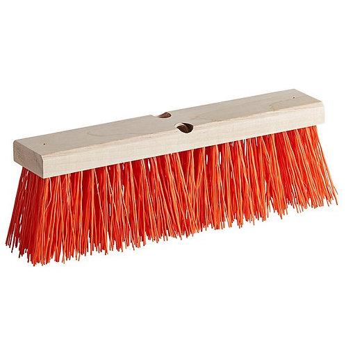 "Carlisle Flo-Pac 18"" Hardwood Push Broom Head,Orange Polypropylene Bristles"