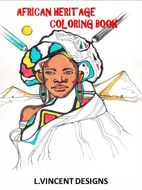 African Heritage Adult Coloring Book by L. Vincent Designs