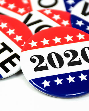close up of political voting pins for 20