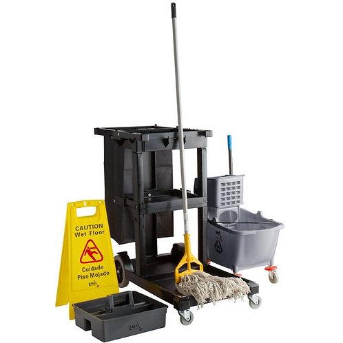 Lavex Lodging Black Cleaning Cart / Janitor Cart & Gray Mop Bucket Kit
