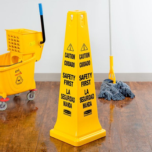 """Rubbermaid 36"""" Bilingual Wet Floor Cone-Shaped Sign - """"Caution Safety First"""""""