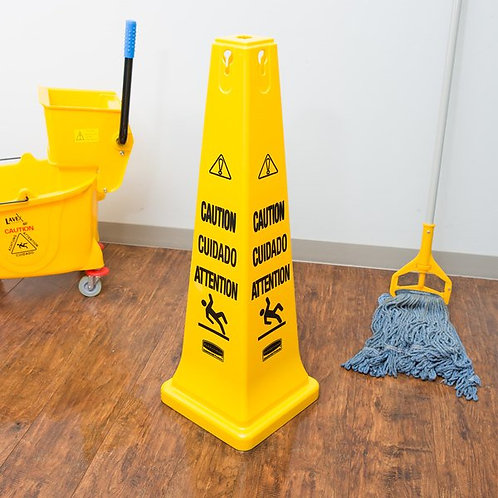 """Rubbermaid 36"""" Yellow Multi-Lingual Wet Floor Cone-Shaped Sign - """"Caution"""""""