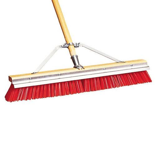 """Carlisle 24"""" Hardwood Push Broom,Red Poly Bristles, Brace, & Scraper"""