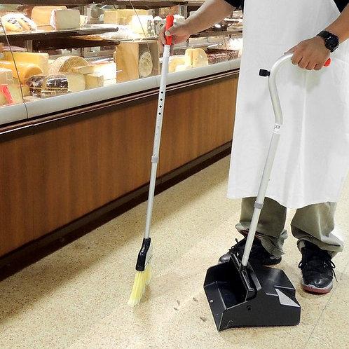 "Unger Ergo Angled Lobby Broom w/ 33"" Handle & Dust Pan"