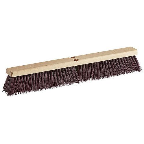 """Carlisle Flo-Pac 24"""" Hardwood Push Broom Head,Maroon Crimped Poly Bristles"""