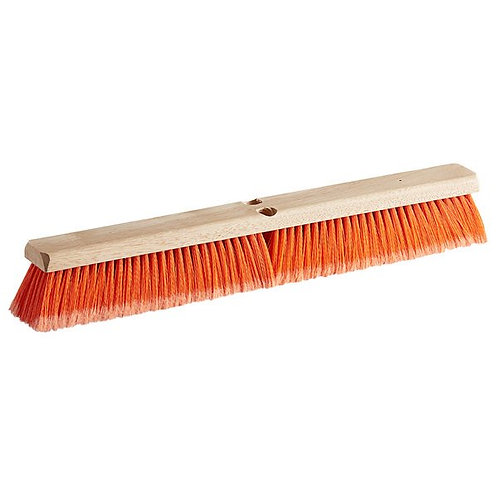 "Carlisle Flo-Pac 24"" Hardwood Push Broom Head,Orange Polypropylene Bristle Blend"