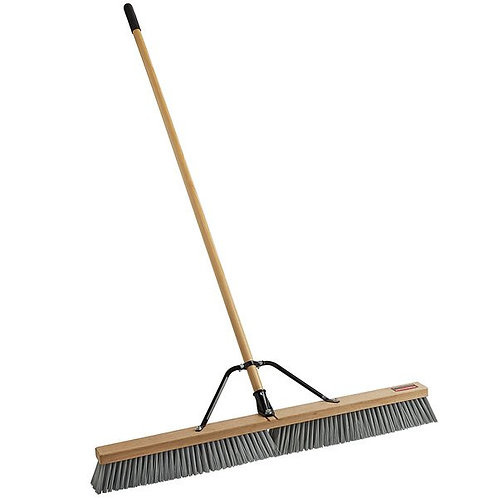 "Rubbermaid 36"" Hardwood Push Broom,Polypropylene Bristles & Hardwood Handle"