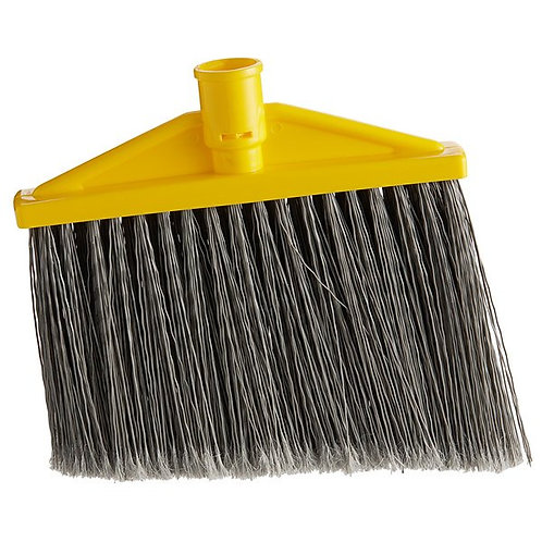 "Rubbermaid 10 1/2"" Angled Broom Head w/ Gray Flagged Bristles"