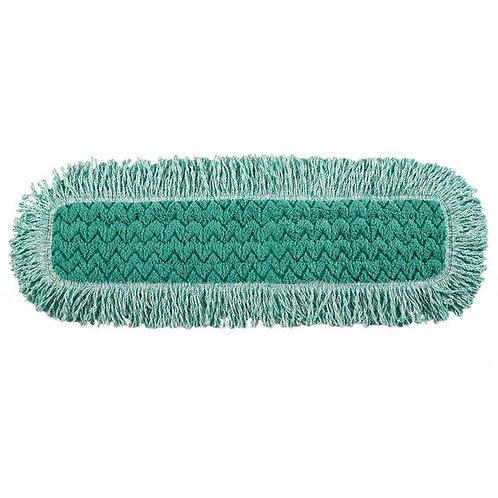 "Rubbermaid HYGEN 24"" Green Microfiber Fringed Dust Mop Pad"