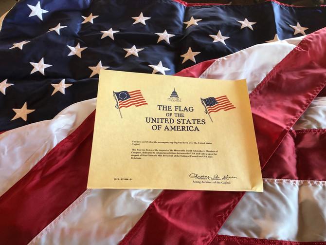 Flag Flown Over the U.S. Capitol Dedicated to Enhancing U.S.-Libya Relations