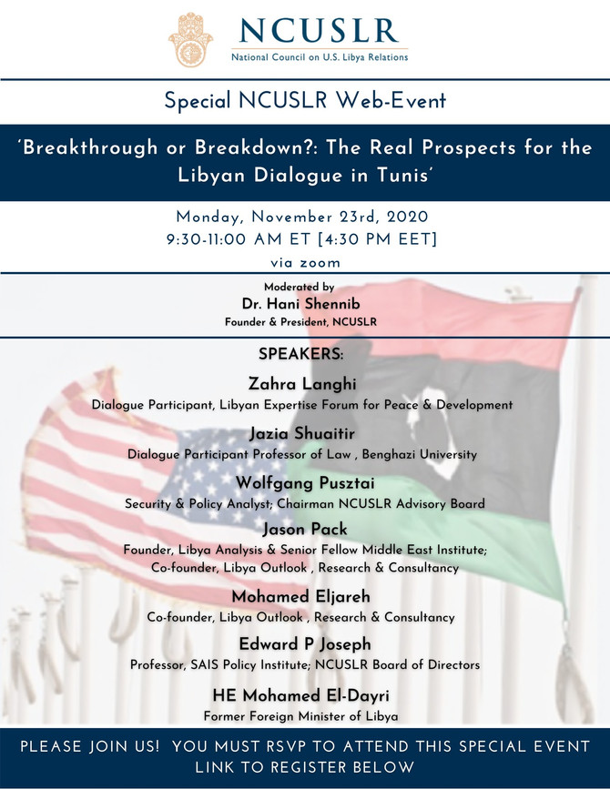 A Special NCUSLR Web-Event​: 'Breakthrough or Breakdown?The Real Prospects for the Libyan Dialogue