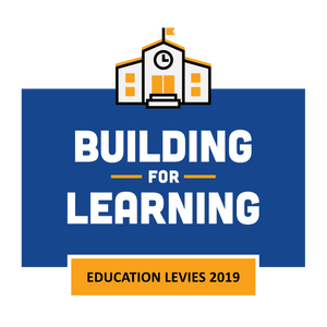"""logo - orange school building, blue background - reads """"Building for Learning Education Levies 2019"""""""