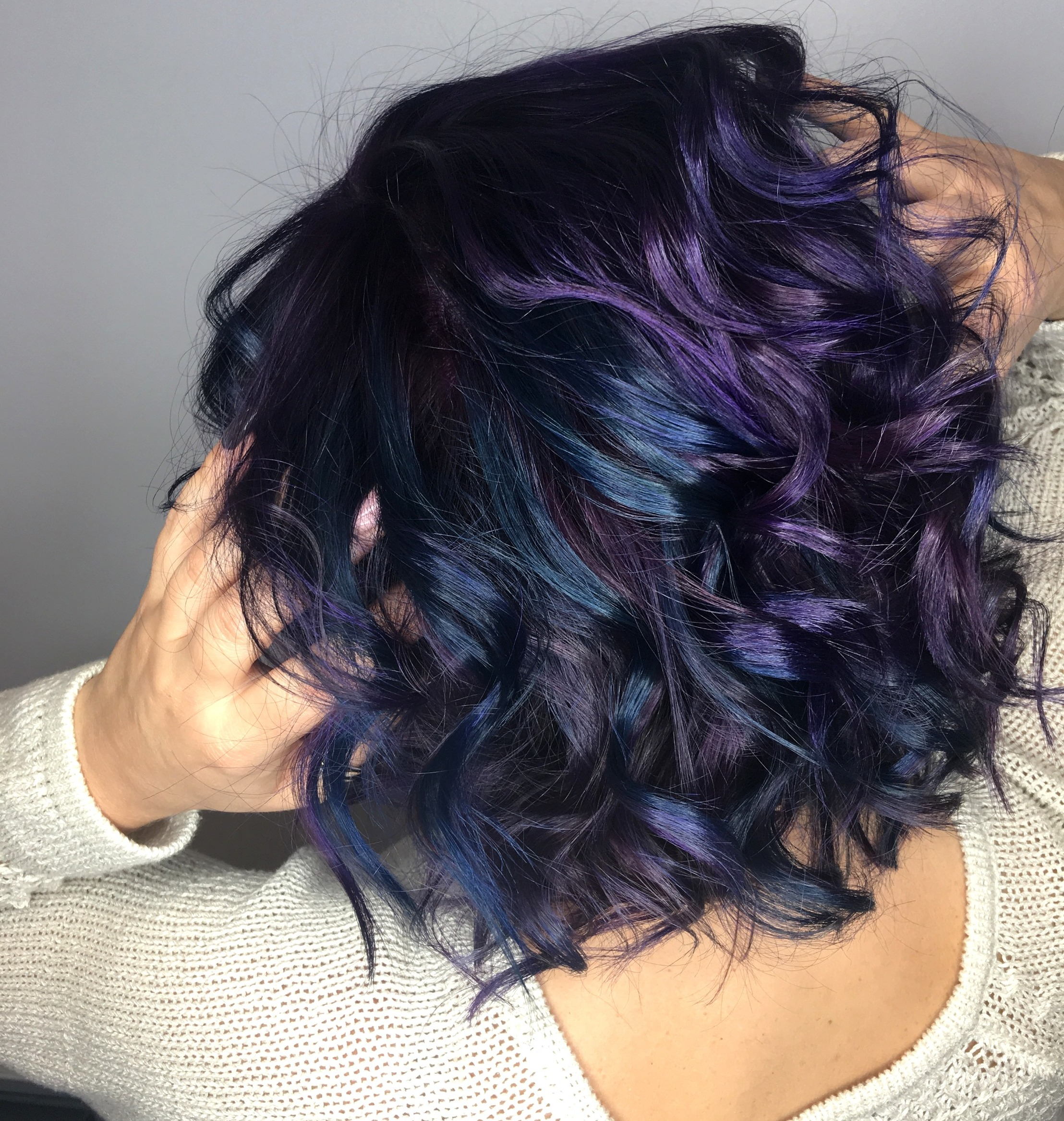 purple and teal