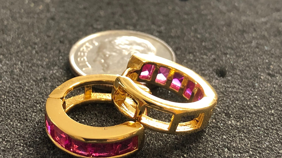 Pink Stone Thin Gold Huggy Earrings