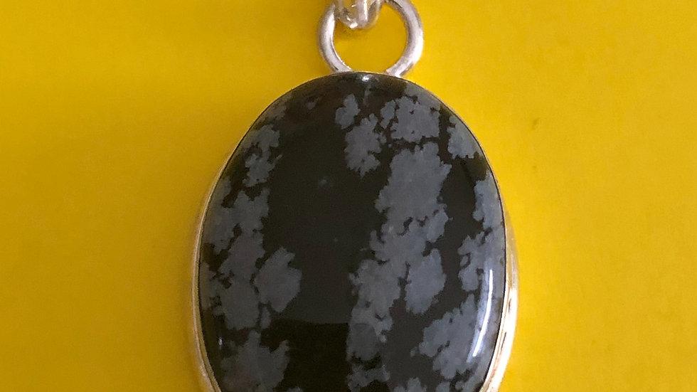 Snow Flake Obsidian Round Pendant