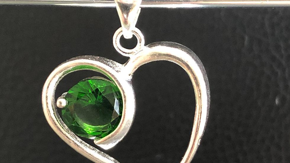 Silver Green Heart Pendant