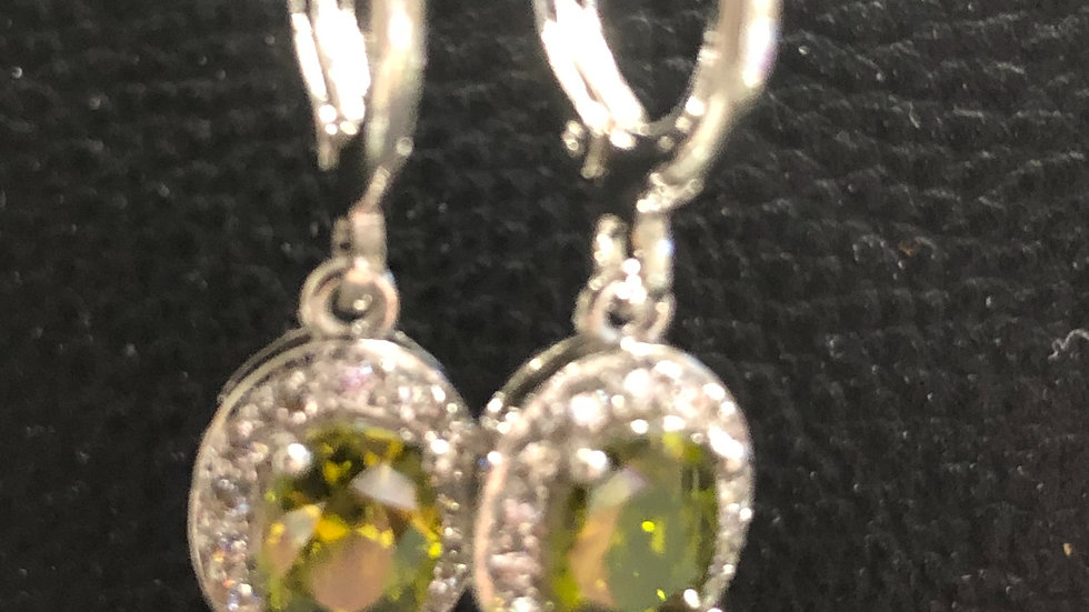 Olive Green Round Huggy Earrings