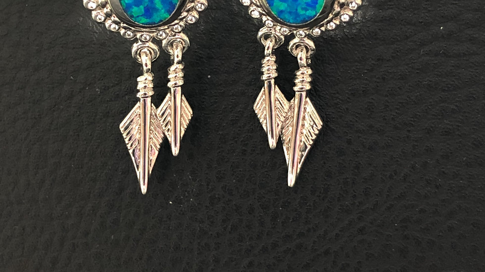 Blue Feather Studs