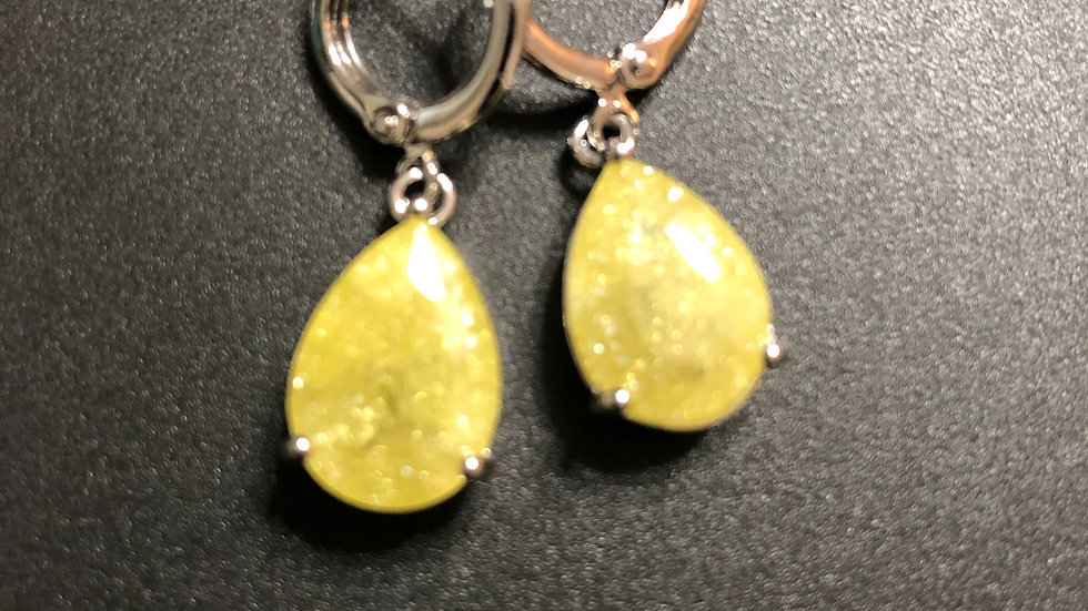 Yellow Frost Tear Drop Dangle