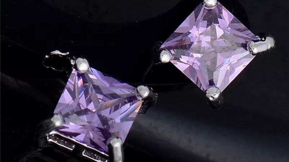 Purple Sqaure Silver Stud