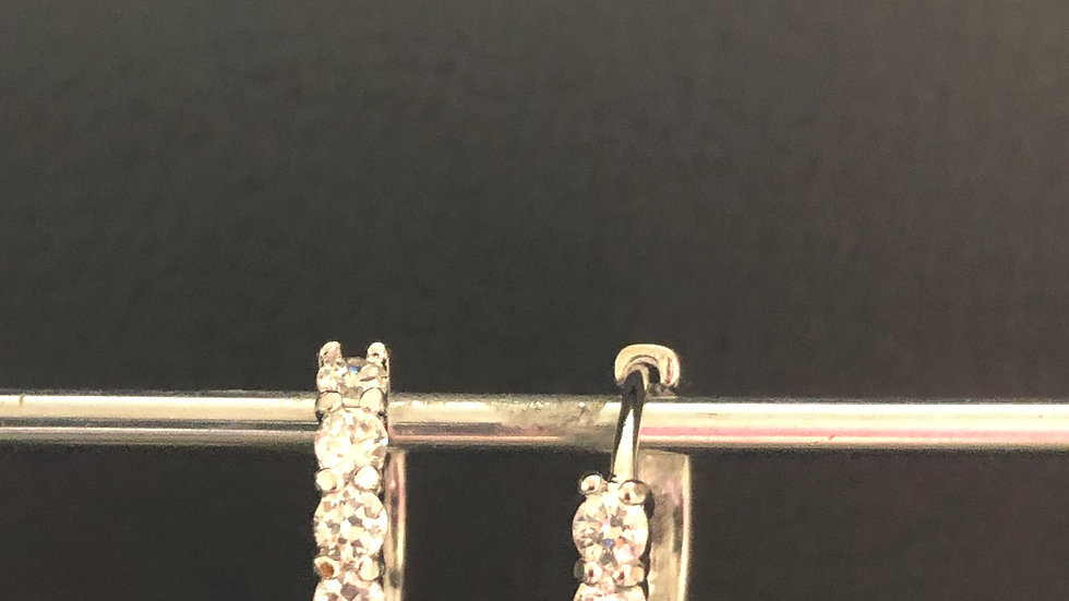 Silver Diamond Huggy Earring