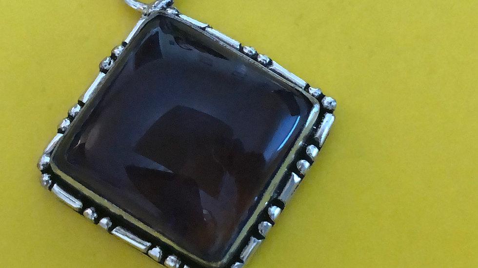 Square Blue Silver Pendant