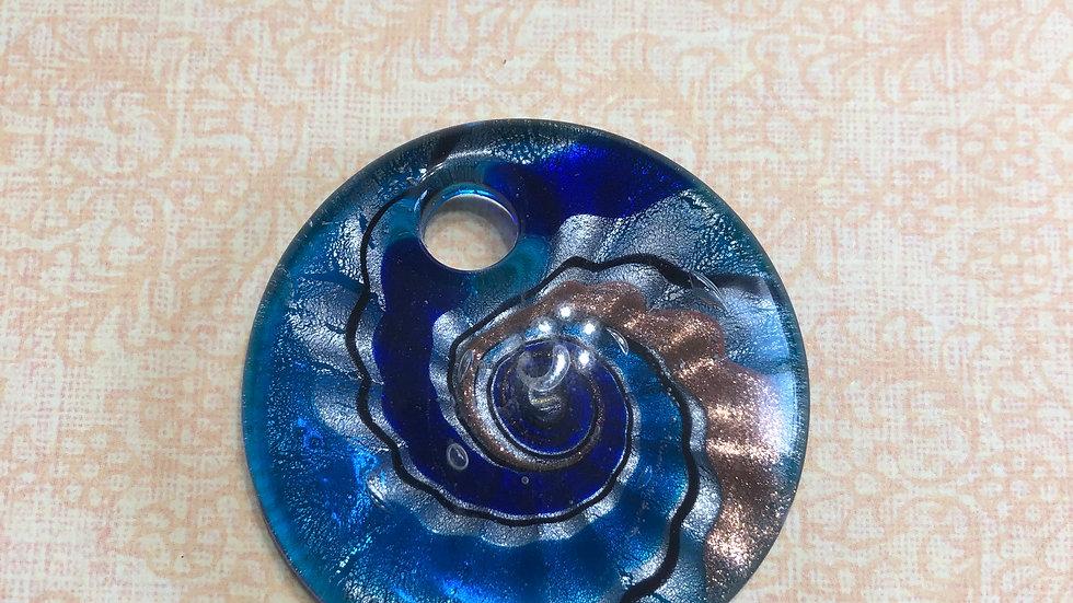 Murano Glass Blue Sprial Pendant