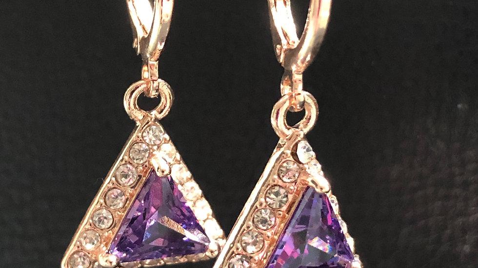 Purple Diamond Triangle Dangle