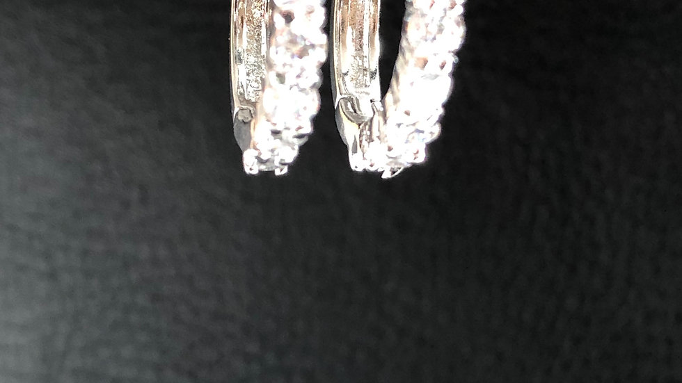 Silver Diamond Huggie