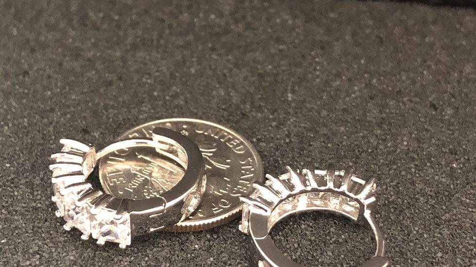 Square Diamond Silver Huggy Earring