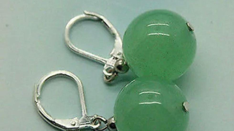 Green Jade Round Huggie Earrings