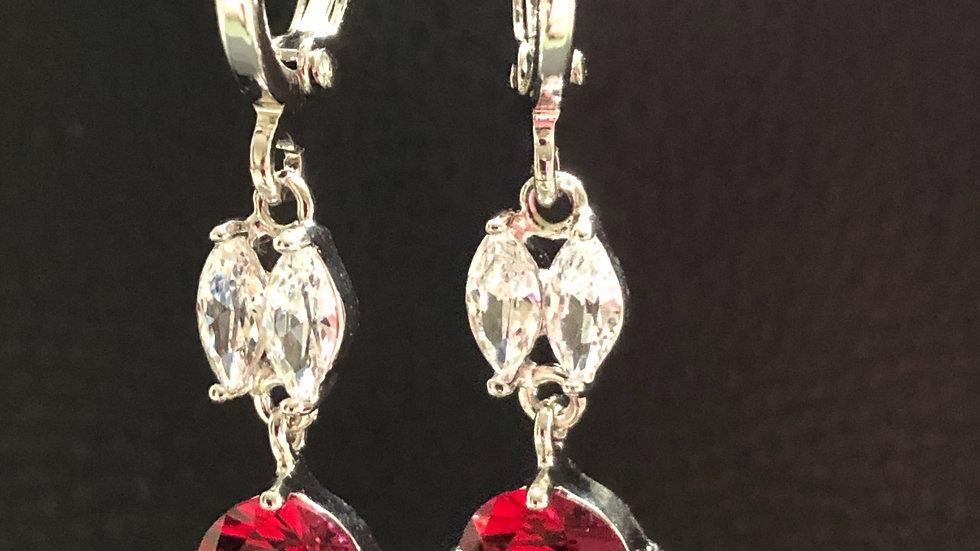 Red & Diamond Silver Dangle