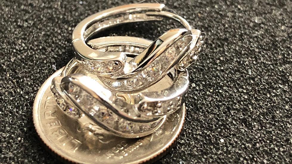 Stylish Silver Diamond Huggy Earrings