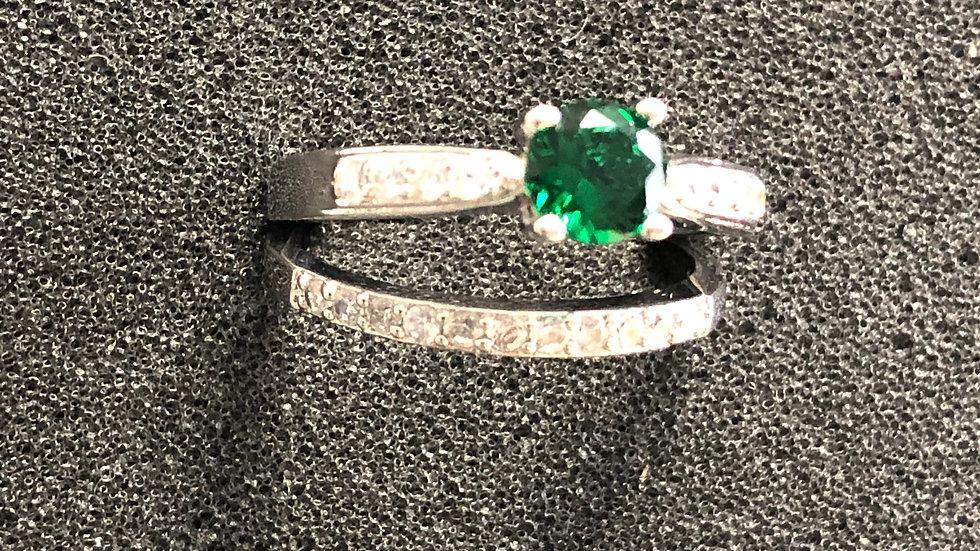 Green Wedding Set Silver Ring (9)