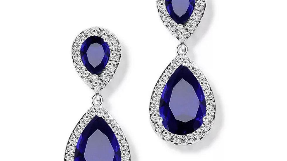 Blue Saphire Stud Earrings