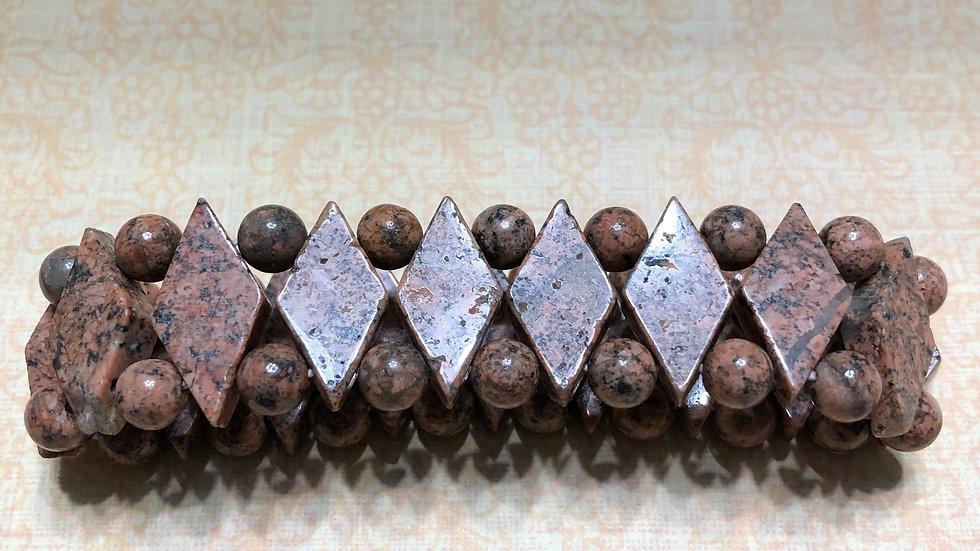 Light Brown Agate Diamond Shape Bracelet