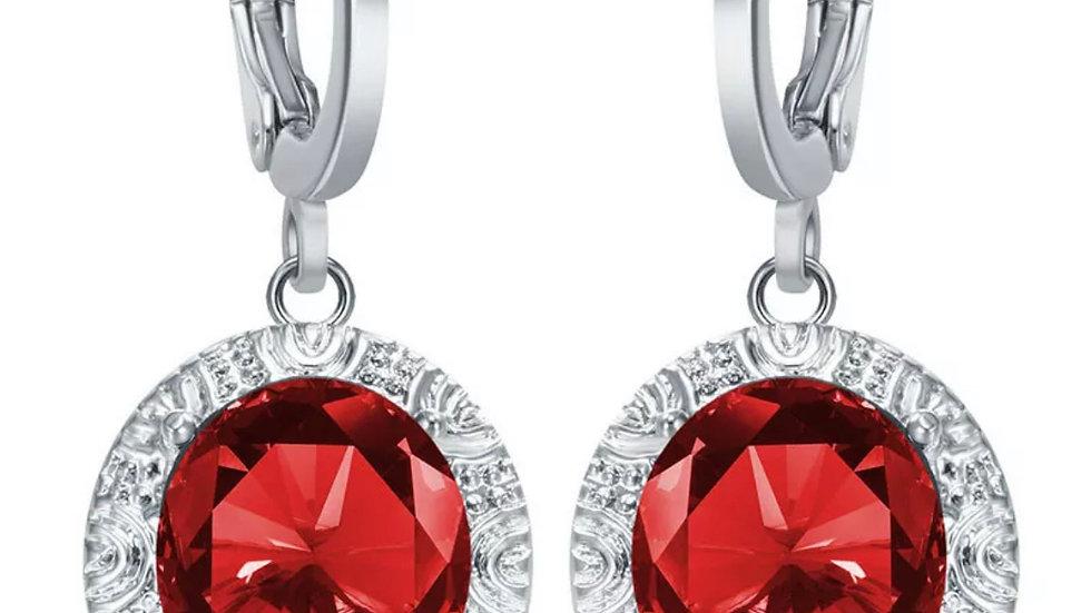Red Round Huggie Silver Earrings