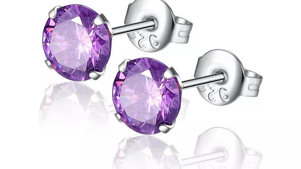Purple Round Silver Stud Earrings