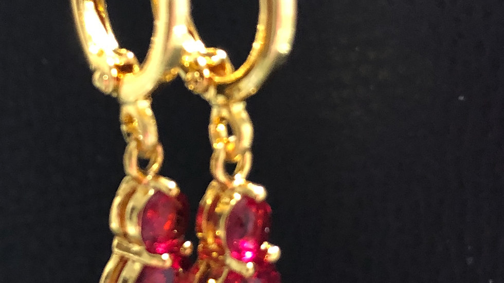 Gold Red Gem Dangle