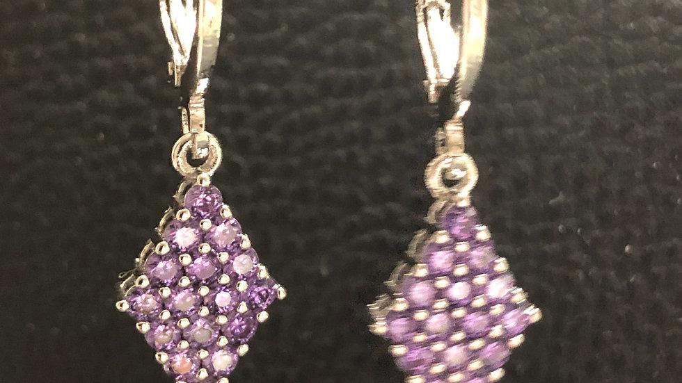 Purple Diamond Shape Huggy Earrings