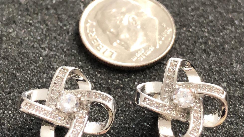 Silver Diamond Bow Stud Earrings