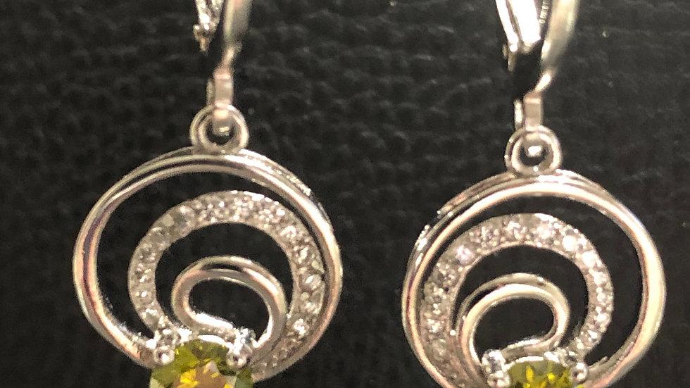 Olive Green Silver Huggy Earrings